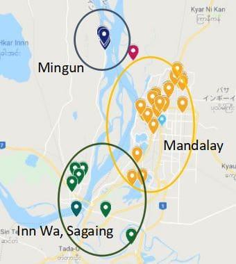 Inn wa Mingun Min Kun Mandalay map Myanmar